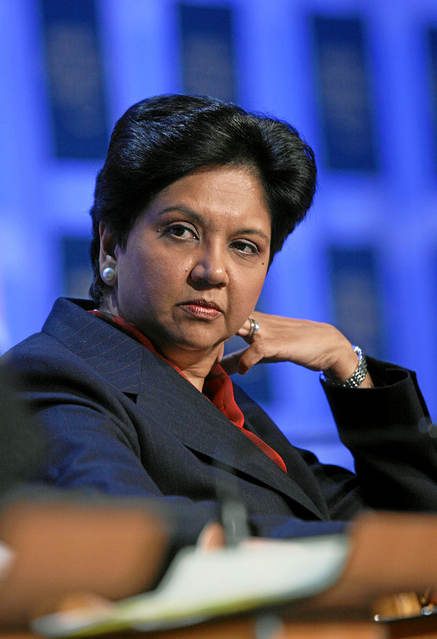 Indra Nooyi By Andy Mettler, World Economic Forum - Indra Nooyi - World Economic Forum Annual Meeting Davos 2008, CC BY-SA 2.0 wikimedia